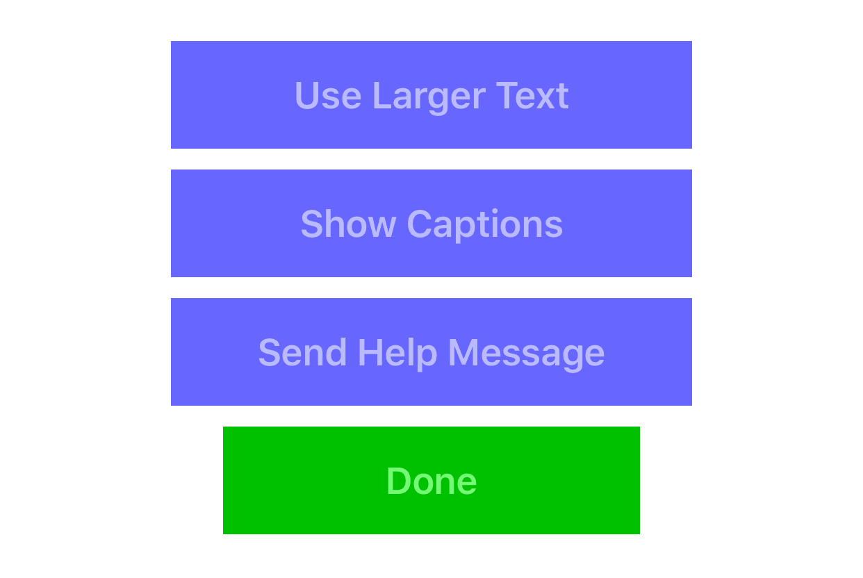 Buttons for accessibility features in the This Is Nowhere app help panel