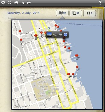 Map popover in Remembary with automatic geotagging